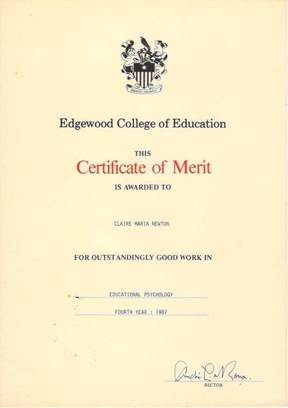 Qualifications Claire Newton – Merit Certificate Comments