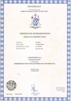 HPCSA Certificate of Registration - Counselling Psychology