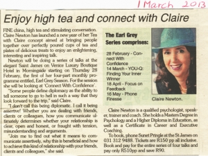 Northglen News - Enjoy high tea and connect with Claire